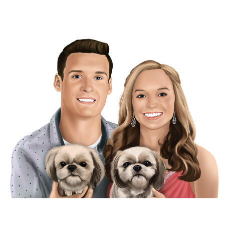 Colored Portrait in Digital Style of Couple with Dogs from Photos - example