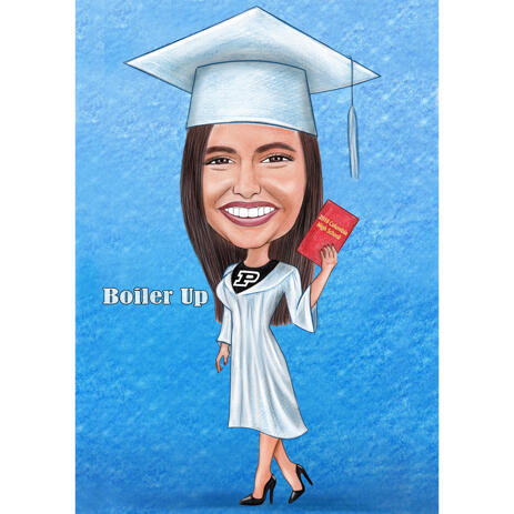 School Graduation Caricature with One Colored Background from Photo - example