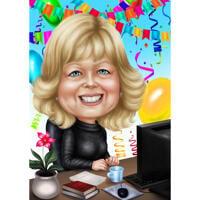 HR Manager-Karikatur-Geschenk im Farbstil mit benutzerdefiniertem Hintergrund von Foto