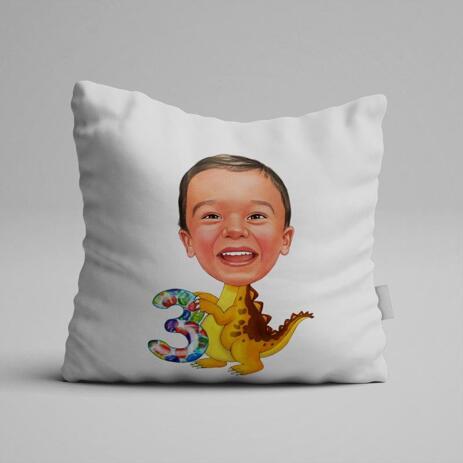 Birthday Children Caricature on Pillow - example