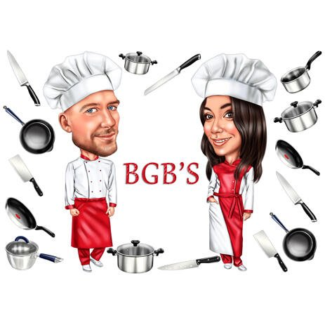 Chefs Caricature Logo: Cooking Lovers Custom Drawing - example