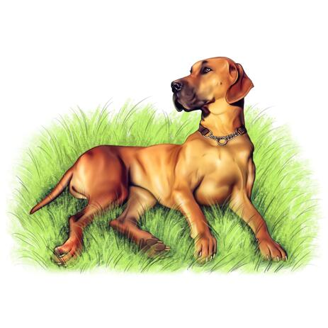 Full Body Dog Portrait on Grass Background in Colored Style - example