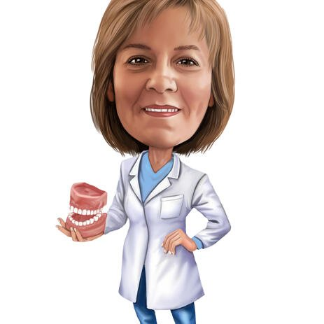 Dental Lab Worker Caricature from Photos - example