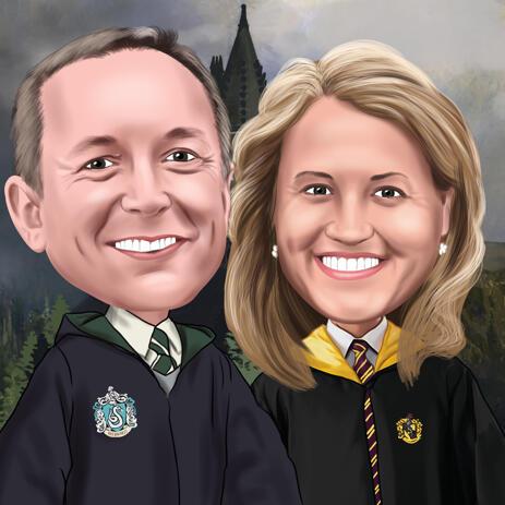Карикатура пары поклонников Гарри Поттера для подарка на годовщину - example
