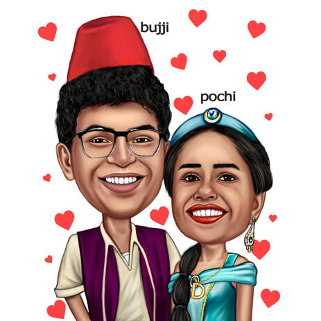 Custom Couple Caricature in Head and Shoulders Type for Princess Jasmine and Aladdin Fans - example