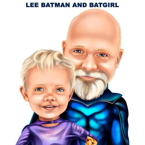 Grandfather with Grandchild Superhero Caricature from Photos - example