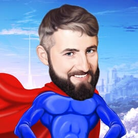 Superhero Cartoon Drawing from Photo on Demand in Colored Digital Style
