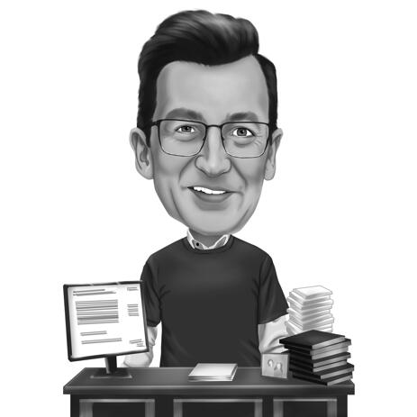 Person Social Survey Specialist Caricature from Photo in Black and White Style - example