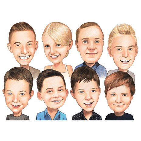 School Kids Group Caricature from Photos in Color Style - example