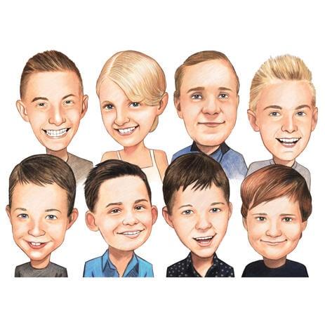 Koolilaste grupikarikatuur värvilises stiilis fotodelt - example