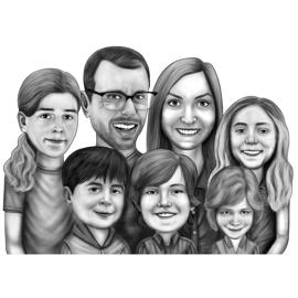 Family Portrait Caricature in Pencils Style from Photos