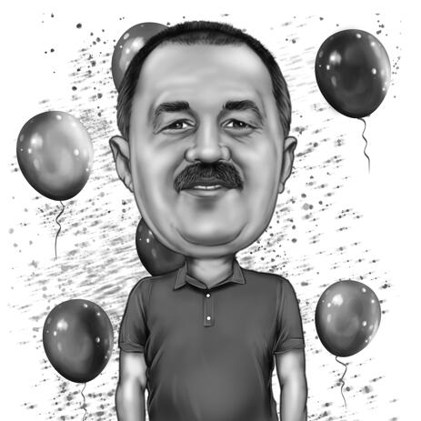 Custom Birthday Male Caricature from Photos for Dad Gift - example
