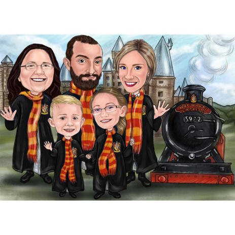 Harry Potter Fans Family Drawing for Custom Family Portrait - example