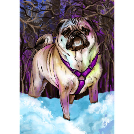 Expressive Watercolor Pug Portrait Painting Art Hand Drawn in Artistic Style from Photos - example