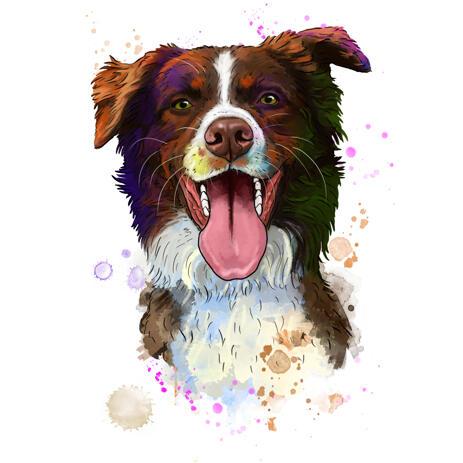 Australian Shepherd Dog Cartoon Portrait in Natural Watercolors Hand-Drawn from Photo - example
