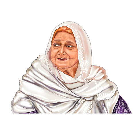 Grandmother Portrait Drawing Painting from Photos - example