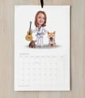 Master and Dog Caricature as Calendar