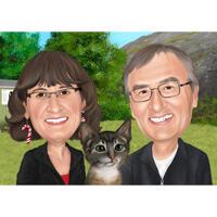 Карикатура на парочку с котом из фотографий на фоне природы