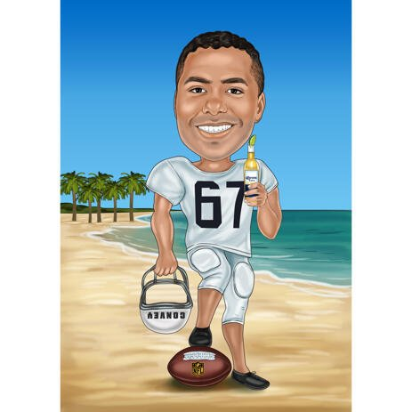 Vacation Rugby Football Player Caricature in Color Style for Sport Lovers Gift - example