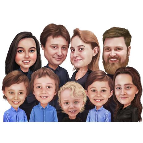Large Family Caricature from Photos in Colored Style - example