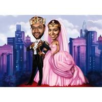 Prins och prinsessa karikatyr med anpassad bakgrund ritad av konstnärer