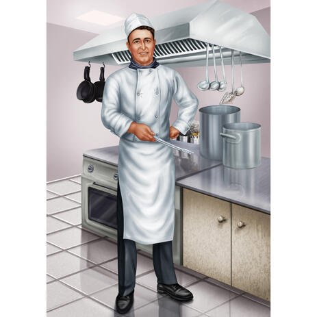 Chef Portrait from Photos with Kitchen Background - example