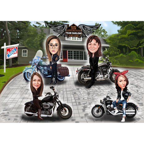 Motorbike Riders Group Caricature from Photos with Colored Background - example