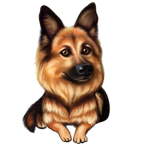 German Shepherd Puppy Caricature Cartoon in Colored Style from Photos - example