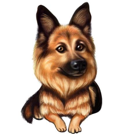 Duitse herder puppy karikatuur cartoon in gekleurde stijl uit foto's - example