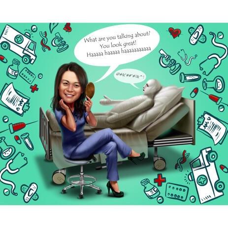 Grappige fysiotherapeut Cartoon karikatuur schilderij met aangepaste achtergrond voor Doctor Day Gift - example