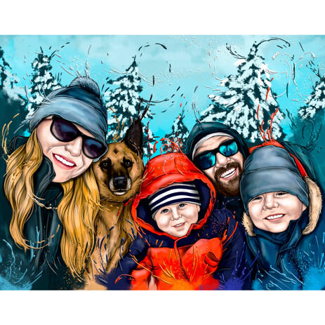 Family with Pet Cartoon Caricature in Natural Watercolor Style on Custom Background - example