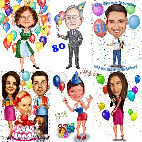 Any Milestone Birthday Full Body Caricature in Colored Style - example