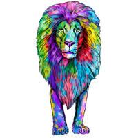 Портрет короля льва в стиле акварели радуги