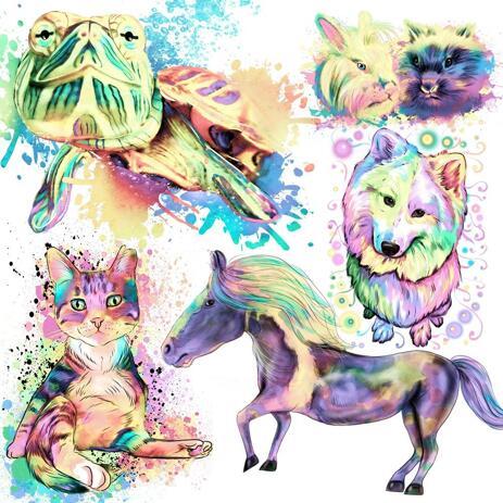Pastellfärgad akvarellporträtt av alla husdjur från foton - example