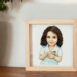 Kid Caricature Drawing Printed asPoster