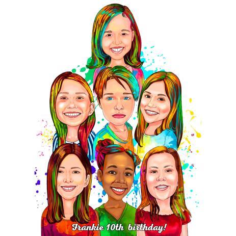 明るいデジタルスタイルの写真から水彩グループの肖像画 - example