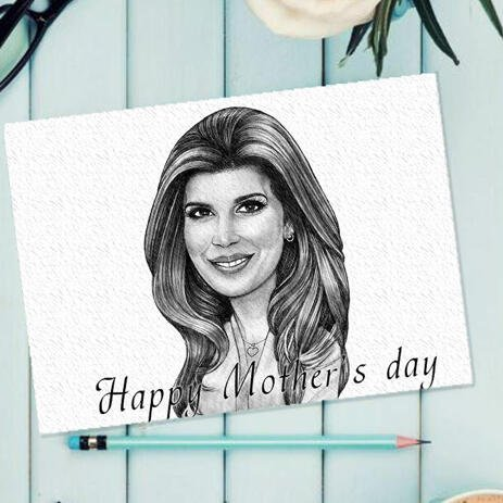 Pencils Drawing: Cartoon Drawing from Photo for a Mother's Day Gift - example