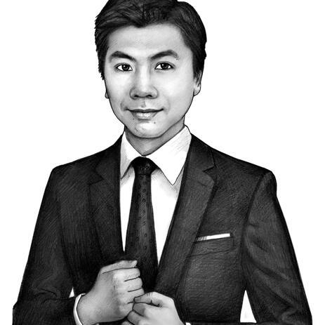 Forretningsmand Portræt Skitse i sort / hvid blyant stil - example