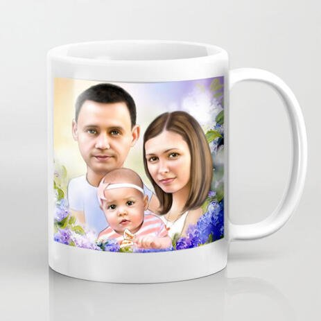 Family Caricature on Coffee Mug - example