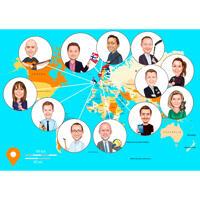 Карикатура группы людей общающихся по интернету нарисованная с фоном