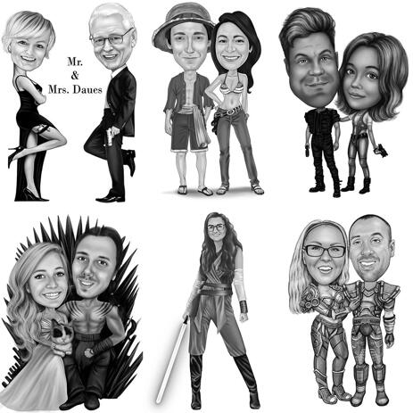 Any Movies Character Full Body Caricature in Black and White Style - example