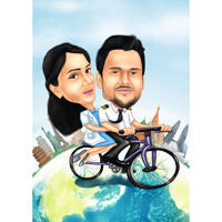 Couple on Bicycle World Travelers Caricature in Color Style from Photos