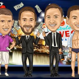 Vegas Groomsmen Cartoon Gift Drawing
