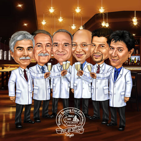 Doctors Group Karikatuur uit foto's - example