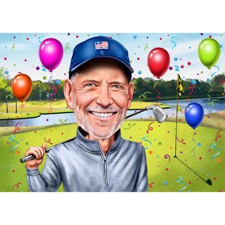 Golfer Birthday Caricature from Photos with Field Background - example
