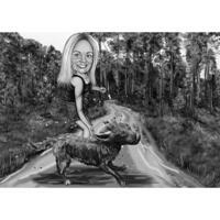 Propriétaire avec chien dans la forêt - Caricature personnalisée en noir et blanc à partir de la photo