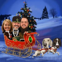 Santa's Sleigh Christmas Caricature with Dogs and Christmas Tree Background