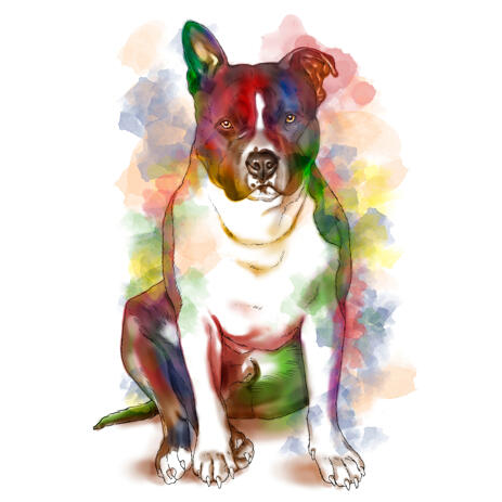 Full Body Staffordshire Dog Portrait Drawing in Artistic Watercolor Style from Photo - example