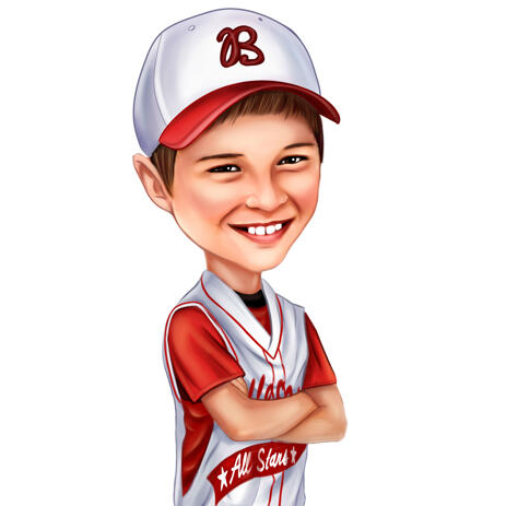 Baseball Caricature in Favorite Team Clothing - example