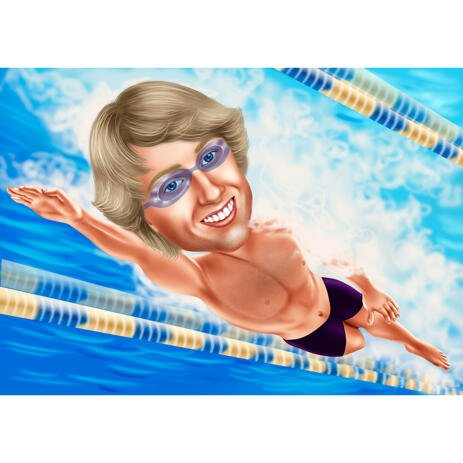 Professional Swimmer Caricature in Color Style from Photos - example